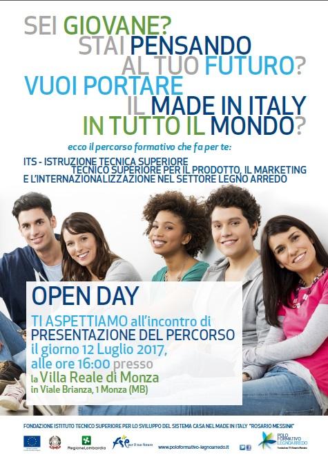 volantino open day villa reale